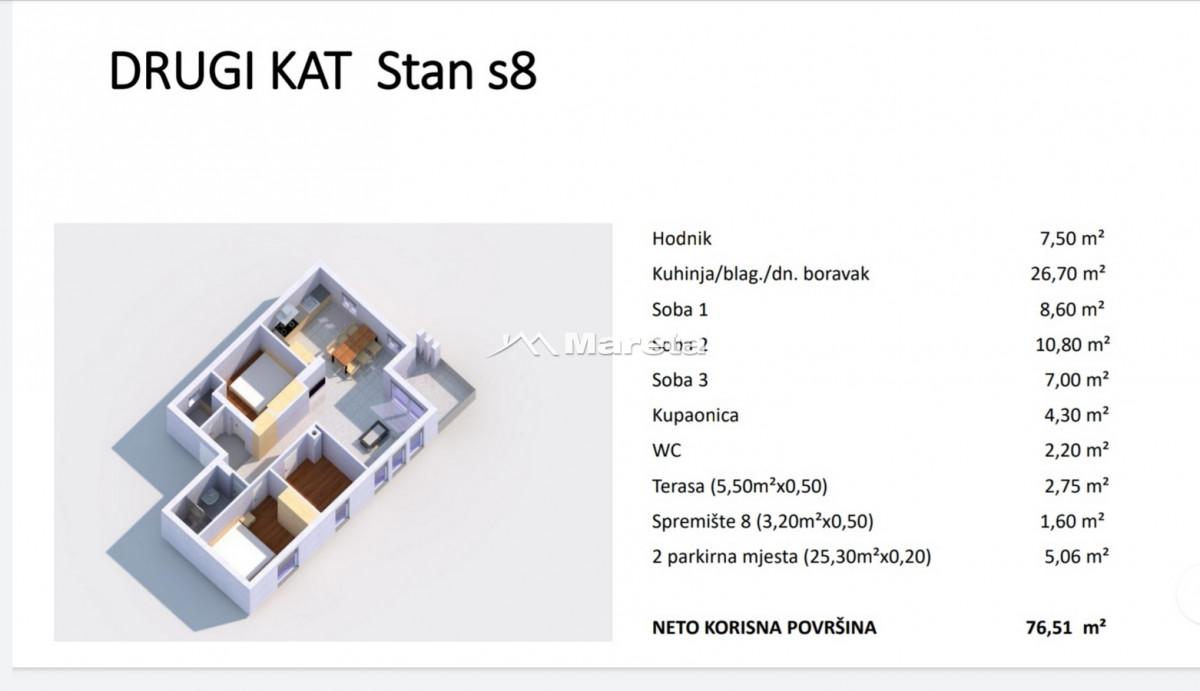 TROSOBAN STAN 76,51m2, 2.KAT, NOVOGRADNJA!!!
